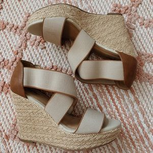 Tan and Brown Espadrille Sandal Wedges
